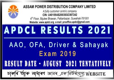 APDCL Results 2021 - Sahayak,AAO,OFA,Driver
