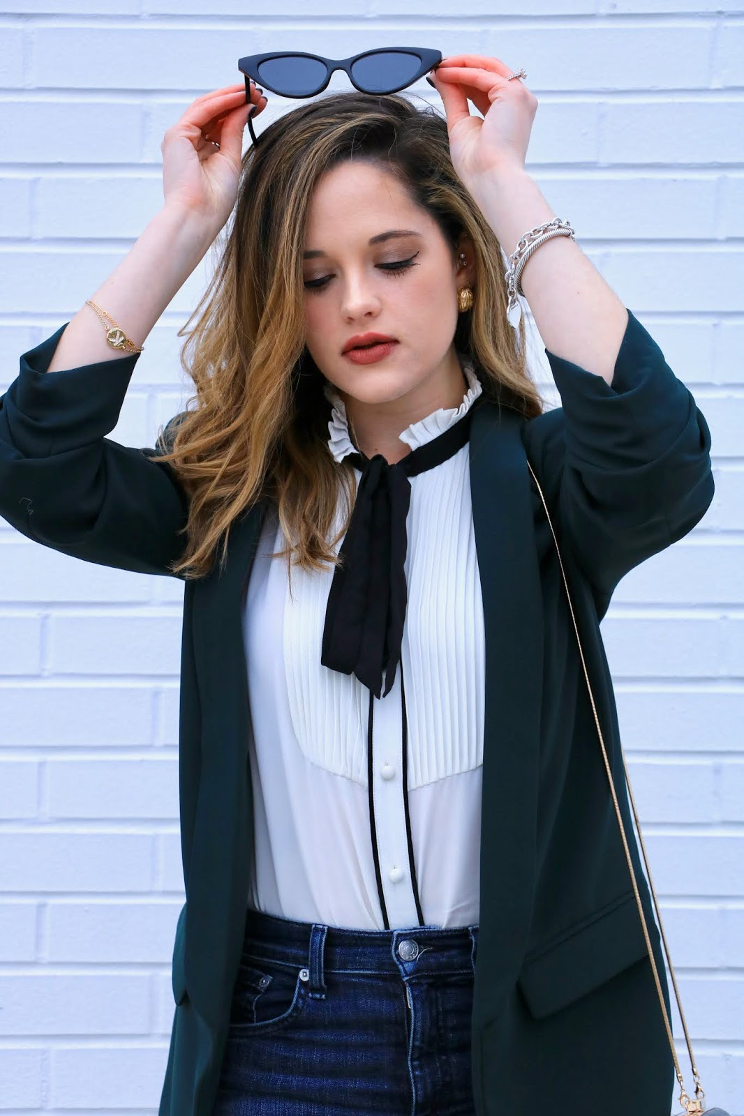 Nyc fashion blogger Kathleen Harper wearing the Victorian blouse trend.