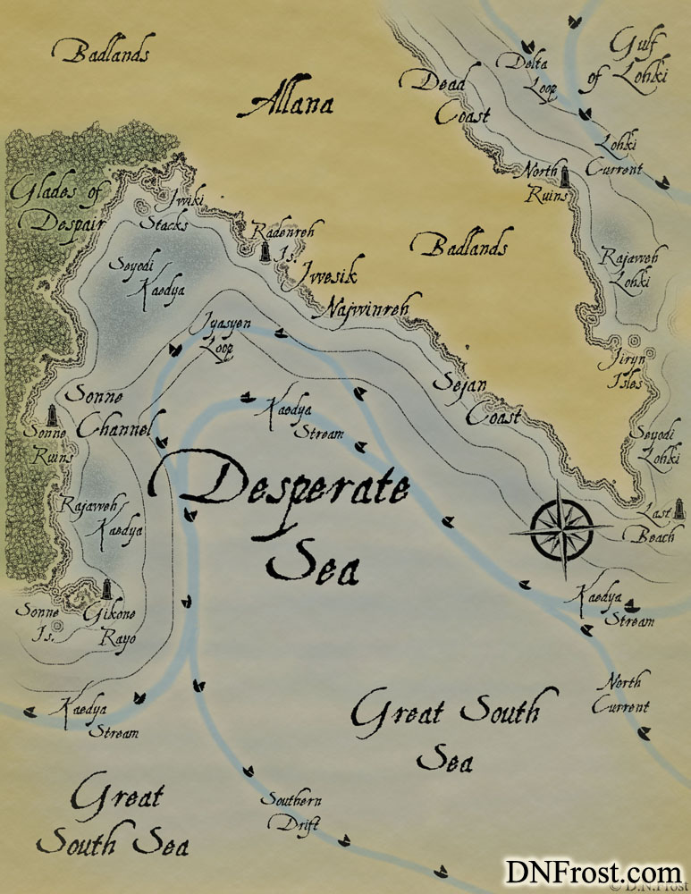 The Desperate Sea: forsaken waters off the coastal badlands www.DNFrost.com/maps #TotKW A map for Awakening by D.N.Frost @DNFrost13 Part of a series.