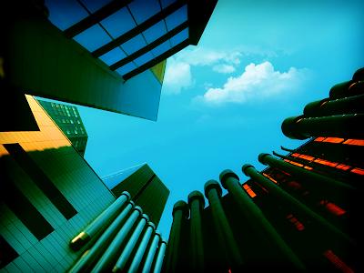 cyan sky, skyline, modern acrhitecture
