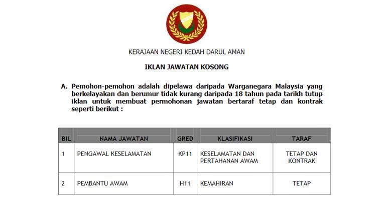 Jawatan Kosong di Kerajaan Negeri Kedah
