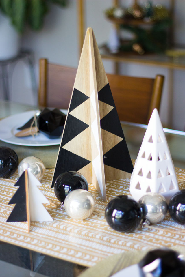 Love these modern black and white triangle Christmas trees!