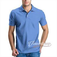 Kaos Polo Shirt Pria Warna Biru Muda