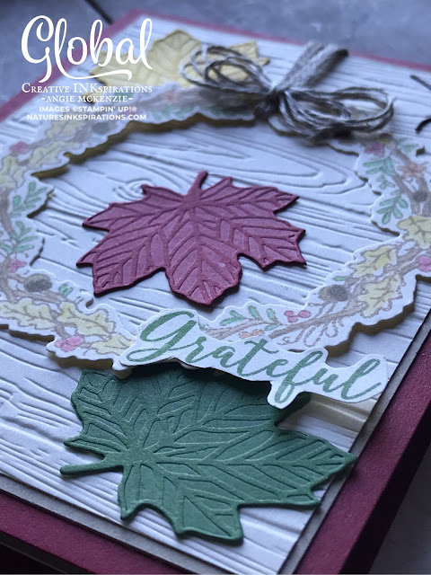 By Angie McKenzie for Global Creative Inkspirations; Click READ or VISIT to go to my blog for details! Featuring the Seasonal Wreaths Stamp Set  and All Around Wreath Dies along with the Gathered Leaves Dies; #seasonalwreathsstampset #allaroundwreathdies #leaves #stampinupdies  #alloccasioncards #coloringtechniques #autumnisintheair #linenthreadbow #porchdecor