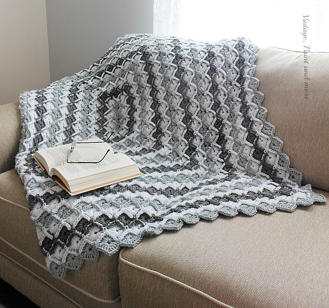 Vintage, Paint and more... crocheted afghan done in diamond pattern