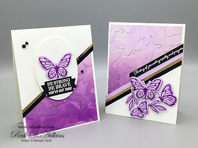Check out this beautiful Ombre Background using Die Cut Butterflies and your white craft ink pad.  Click here to learn more about how I made this card