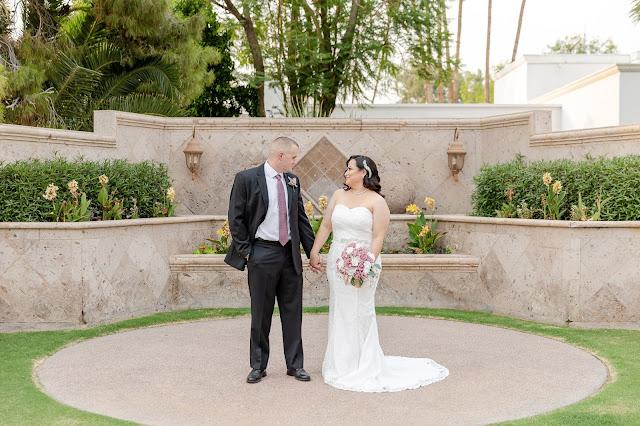 bride and groom photo at arizona golf resort ceremony space