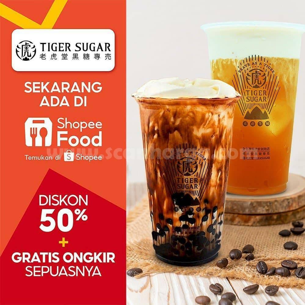 Tiger Sugar Promo Diskon 50% + Gratis Ongkir via ShopeeFood