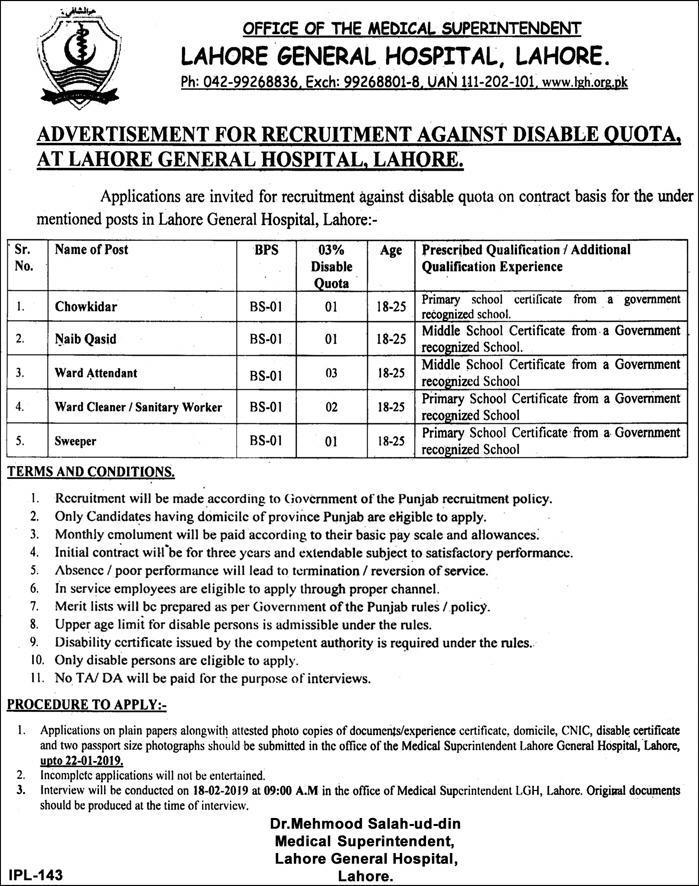 Jobs vacancies In Lahore General Hospital Lahore LGH 09 January 2019