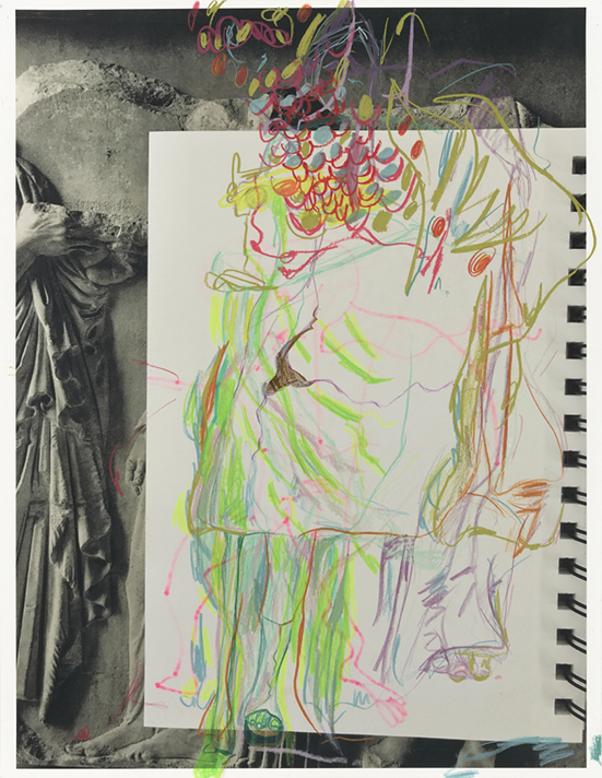Rachel Harrison The Classics, 2019  Colored pencil and wax crayon on pigmented inkjet print Paper 55.9 x 43.2 cm