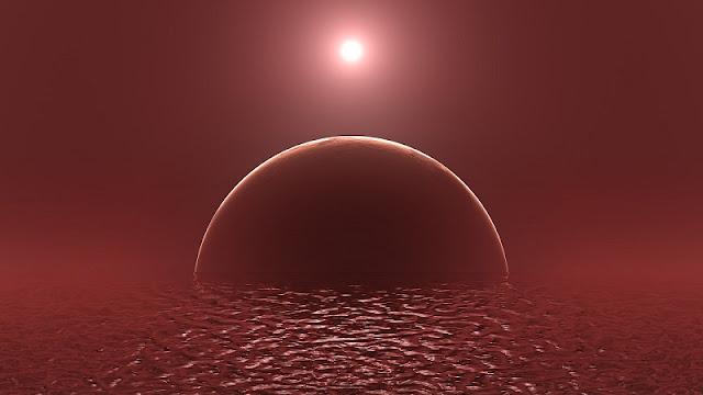 ilustrasi air di planet merah mars