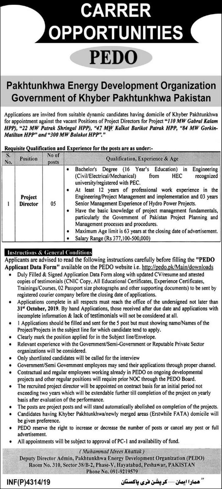 Energy Development Organization PEDO Jobs For Project Director