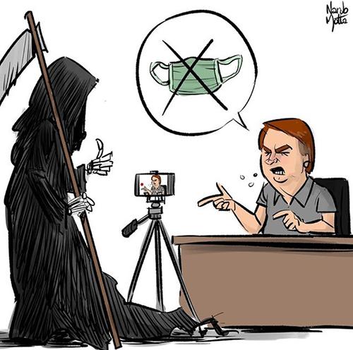 Charge sobre o ataque de Bolsonaro à máscara