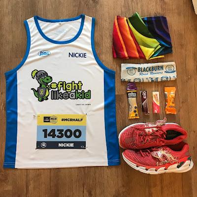 Manchester Half Marathon pre-race flatlay