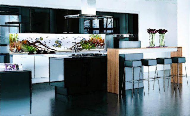 fish tanks or aquariums. In the backsplash or the cabinetry, the tanks