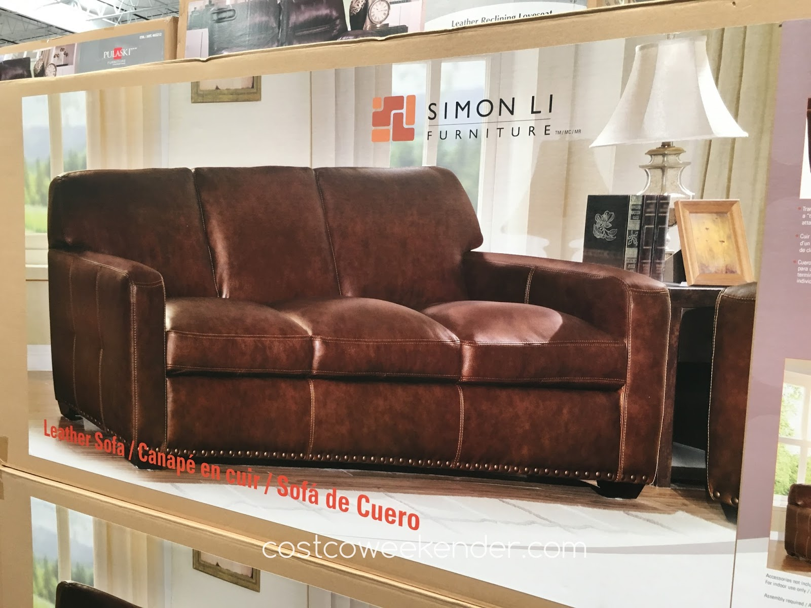 Costco 734867 Simon Li Leather Sofa The Timeless Look Of A Track Arm Design