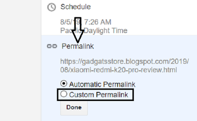 Before Publish Post change permalink: