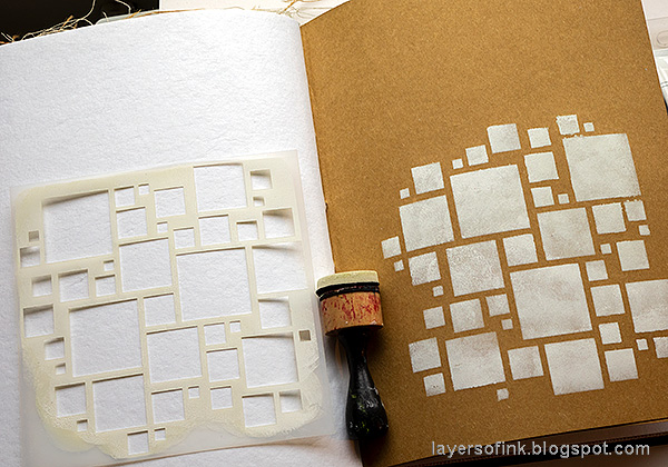 Layers of ink - Shadow Stenciling and Stamping Tutorial by Anna-Karin Evaldsson. Apply paint through Simon Says Stamp Mix and Match Squares Stencil.