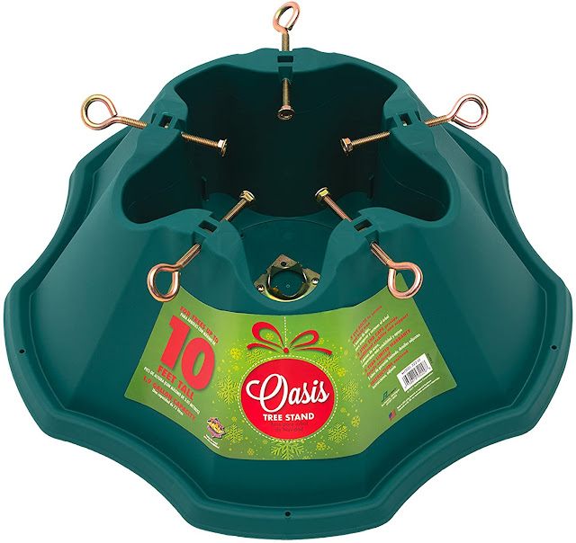 large green plastic Christmas tree stand