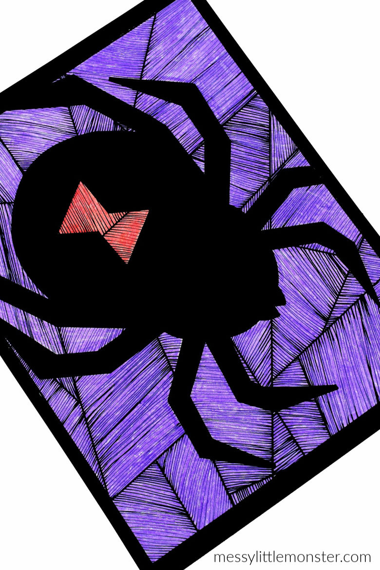 spider coloring page for kids