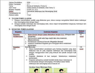 RPP PJOK 1 Lembar Kelas 3 Tema 4