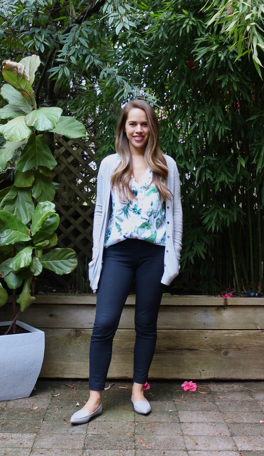 Jules in Flats - Botanical Print Sleeveless Top (Business Casual Spring Workwear on a Budget)