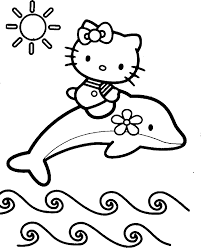 Free Dolphins And Hello Kity Coloring Pages