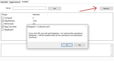 Notepad++: disinstallare plugin