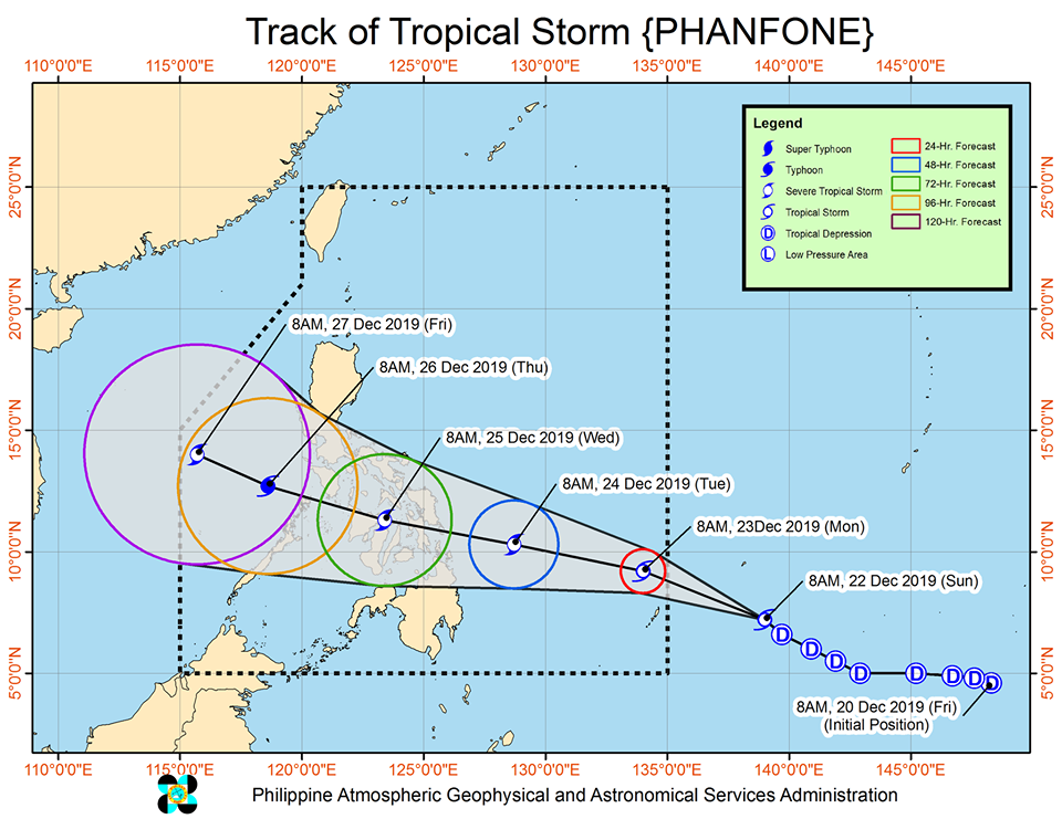 Latest track of Tropical Storm Phanfone