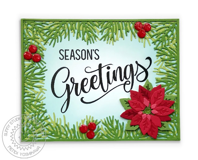 Sunny Studio Stamps: Season's Greetings Holiday Christmas Card (using Christmas Garland Frame and Layered Poinsettia Dies)