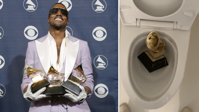 Kanye West pees on one of his Grammy Awards in a bizarre video