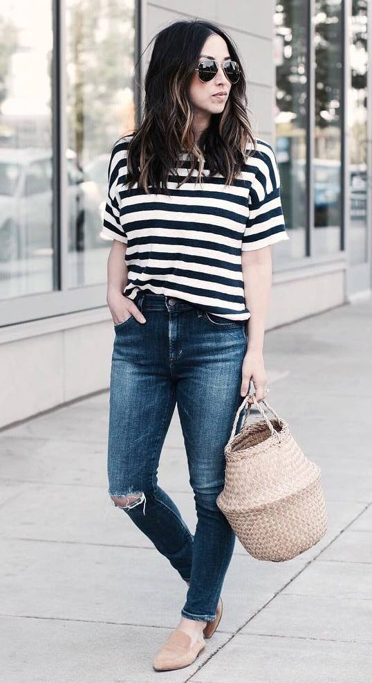 ootd | striped tee + bag + jeans + nude loafers + rips
