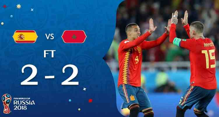 Hasil Spanyol vs Maroko Skor Akhir 2-2 | Fase Group B World Cup 2018