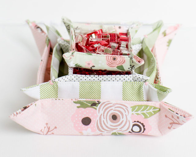 Learn how to make square, nested fabric baskets. Tutorial by Simple Simon & Company.