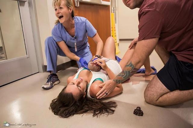 Муж не успел привезти жену в больницу и она родила прямо в коридоре госпиталя...