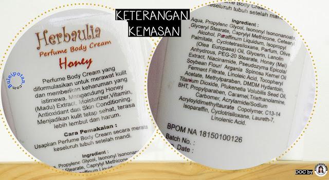 Keterangan HERBAULIA PERFUME BODY CREAM varian Honey