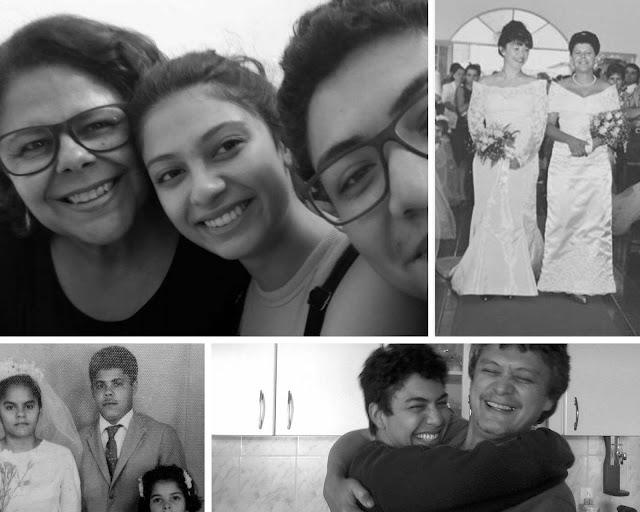Colagem em preto e branco com famílias e casamentos