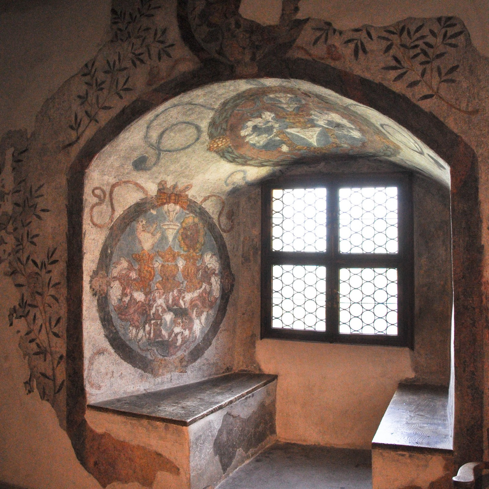 A frescoed window alcove, Runkelstein Castle, Bolzano, South Tyrol, Italy