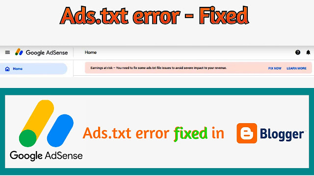 solution to fix ads.txt error in blogger adsense
