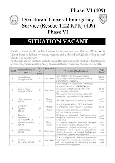 rescue jobs,rescue 1122 kpk jobs,