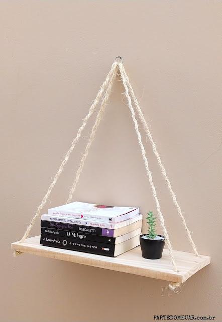 prateleira madeira corda