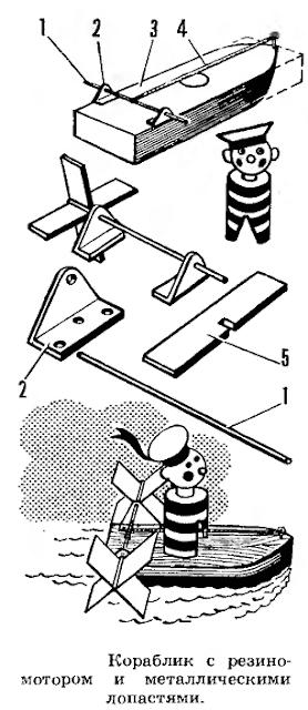 Как сделать кораблик с резиномотором