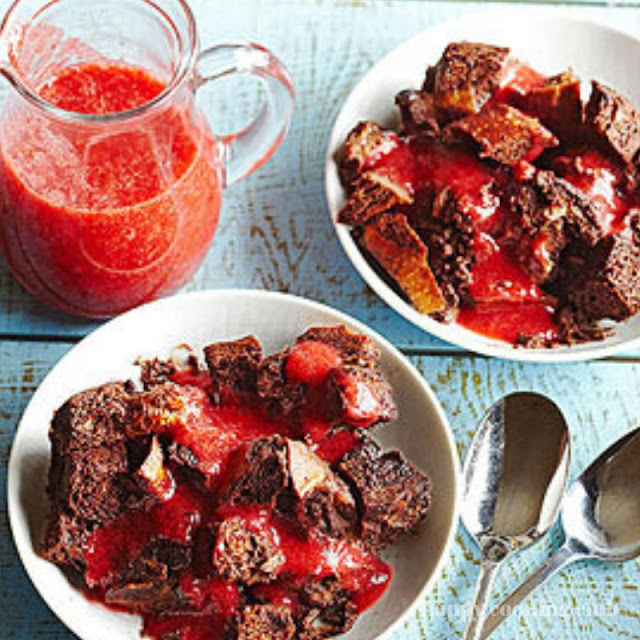 Double-Chocolate Bread Pudding with Strawberry Sauce