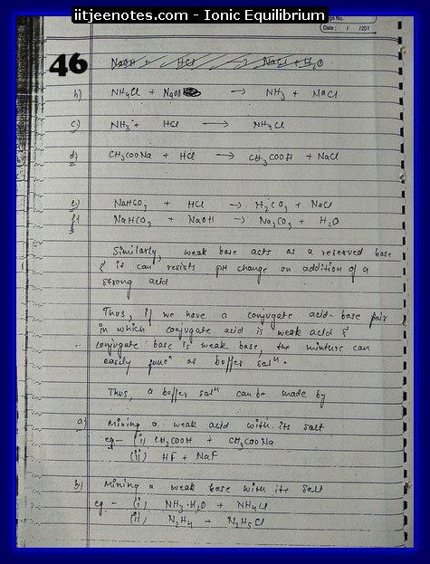 Ionic Equilibrium Notes IITJEE 14