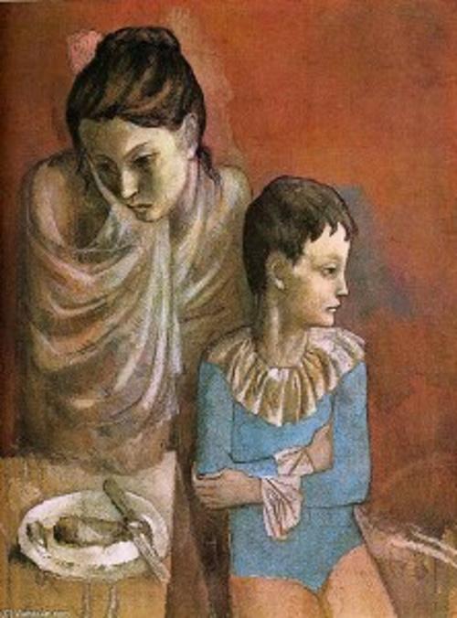 Mãe e filho, pintura de Picasso. #PraCegoVer