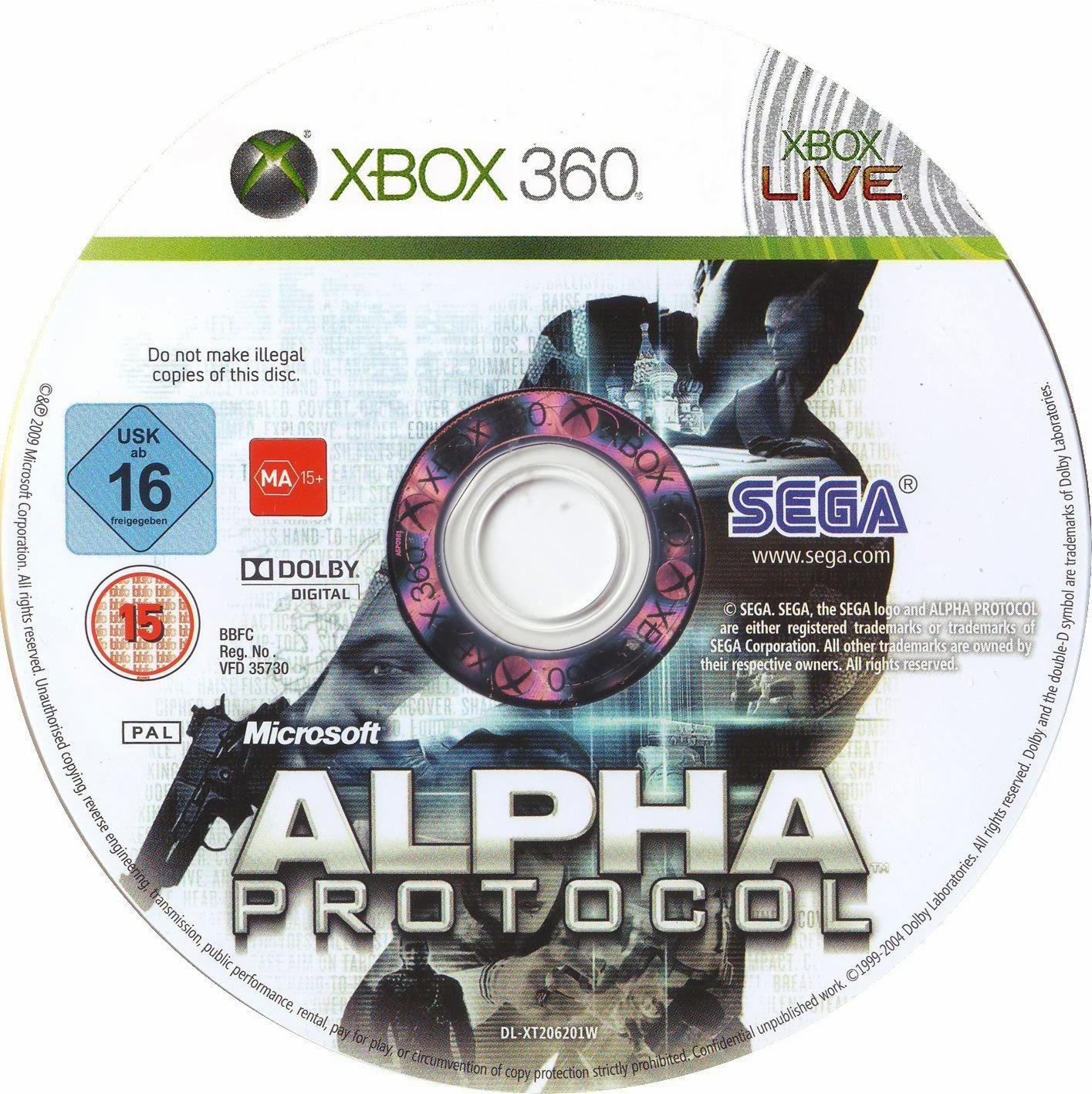 Label Alpha Protocol Xbox 360