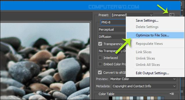 ضغط الصور بالفوتوشوب وتقليل حجمها مع الحفاظ على جودتها