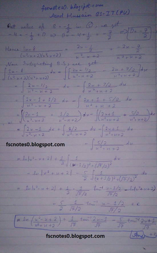 FSc ICS Notes Math Part 2 Chapter 3 Integration Exercise 3.5 question 23 - 31 by Asad Hussain 11