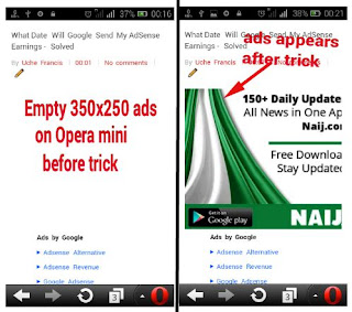 Adsense ads on opera mini
