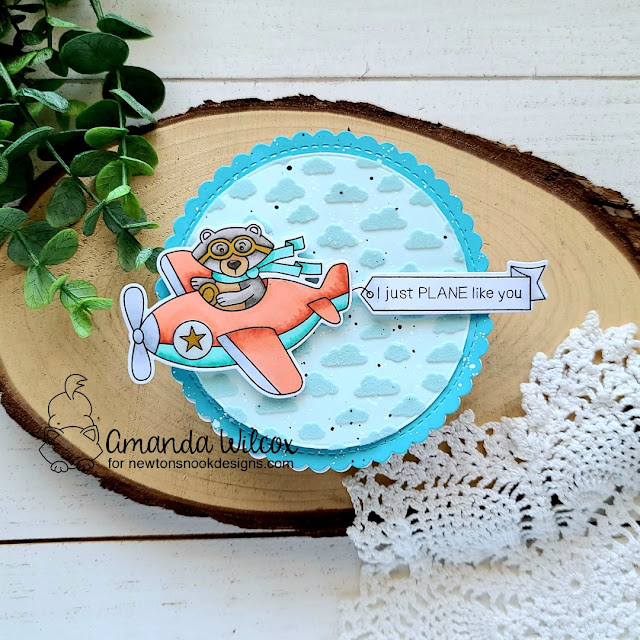 I Just Plane Like You! Circular Easel Card by Amanda Wilcox | Winston Takes Flight Stamp Set, Petite Clouds Stencil, and Circle Frames Die set by Newton's Nook Designs #newtonsnook #handmade